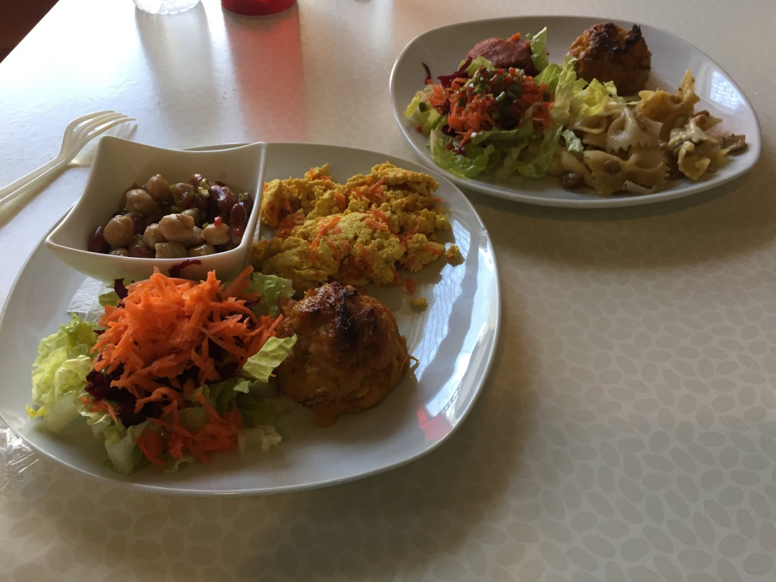 Plates with vegan dishes