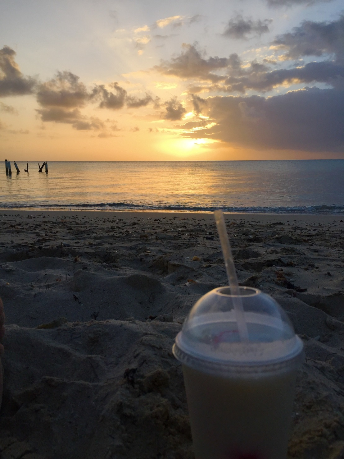 Piña colada and sunset